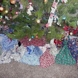 You can make simple gift bags from colorful, holiday-themed fabric tied with ribbon (or, in a pinch, a simple hair band).