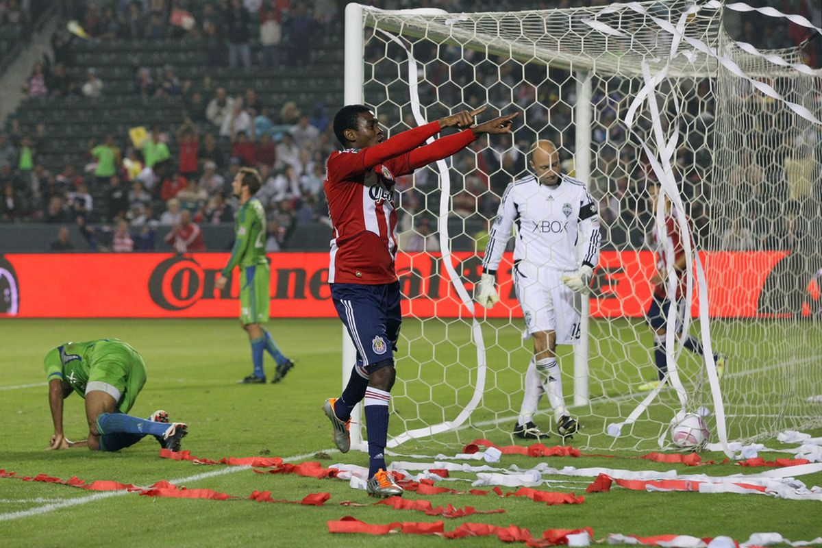 CARSON, CA - OCTOBER 22:  Estupinan may be gone, but can Chivas create a few of these scenes against the Sounders tonight? (Photo by Victor Decolongon/Getty Images)
