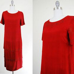 "1920s red silk beaded dress, $124 from <a href=""www.etsy.com/shop/HinterlandVintage"">Hinterland Vintage</a>"