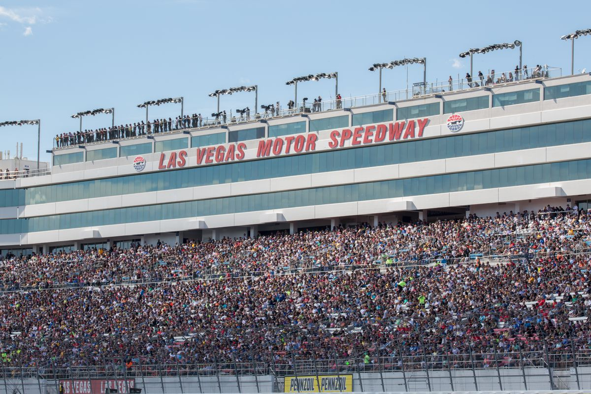Fans pack the Grandstand for the Pennzoil 400 Monster Energy NASCAR Cup Series race on March 03, 2019, at the Las Vegas Motor Speedway in Las Vegas, Nevada.