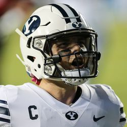 Brigham Young Cougars quarterback Zach Wilson (1) reacts after scoring a touchdown during an NCAA football game at LaVell Edwards Stadium in Provo on Saturday, Oct. 31, 2020.