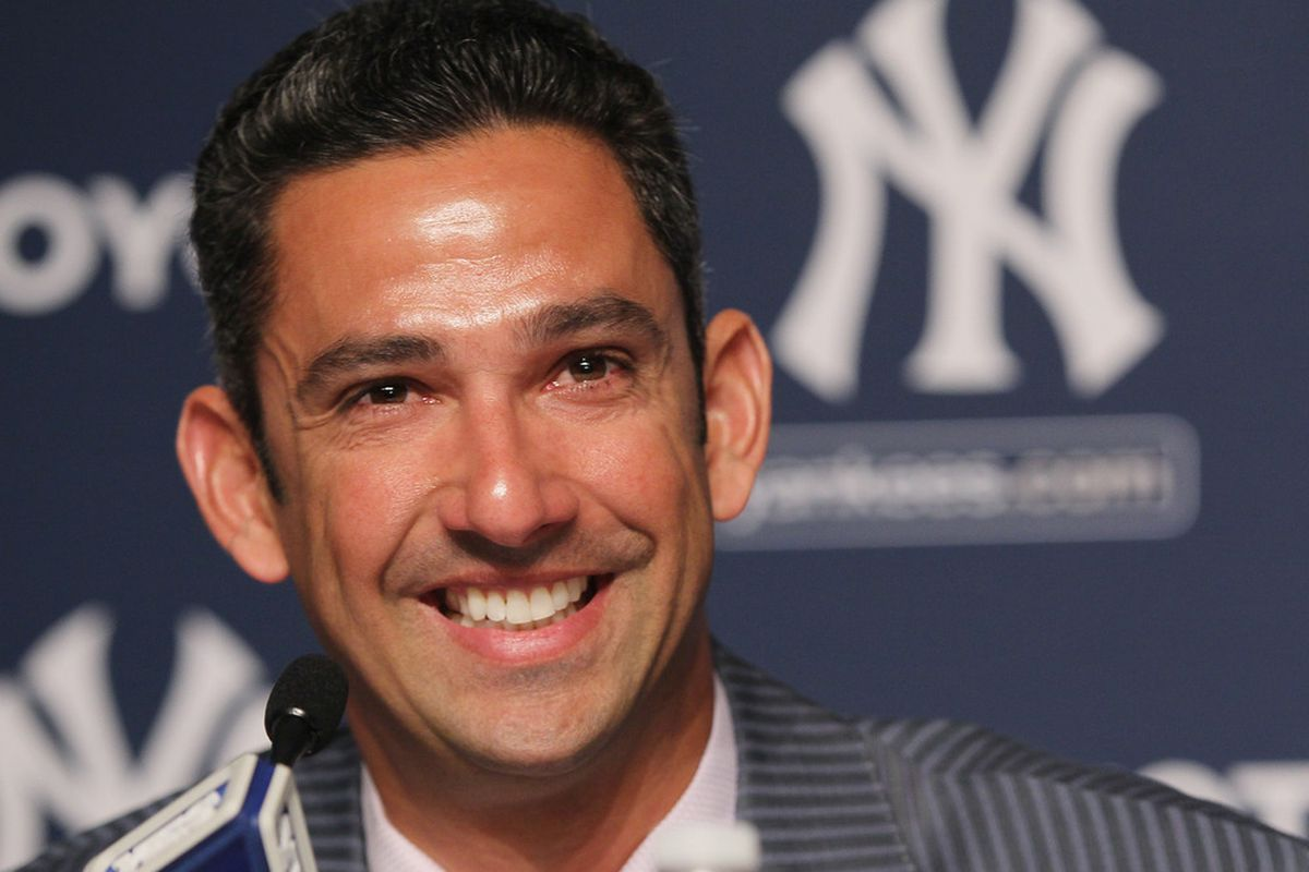 Jorge Posada addresses the media during a press conference to announces his retirement from the New York Yankees at Yankee Stadium on January 24, 2012.  (Photo by Mike Stobe/Getty Images)