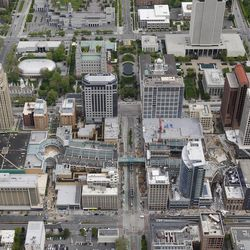 An aerial view shows the progress on the City Creek project in downtown Salt Lake City Thursday, May 26, 2011. Construction on the estimated $1.5 billion development is expected to be finished by March 22, 2012.