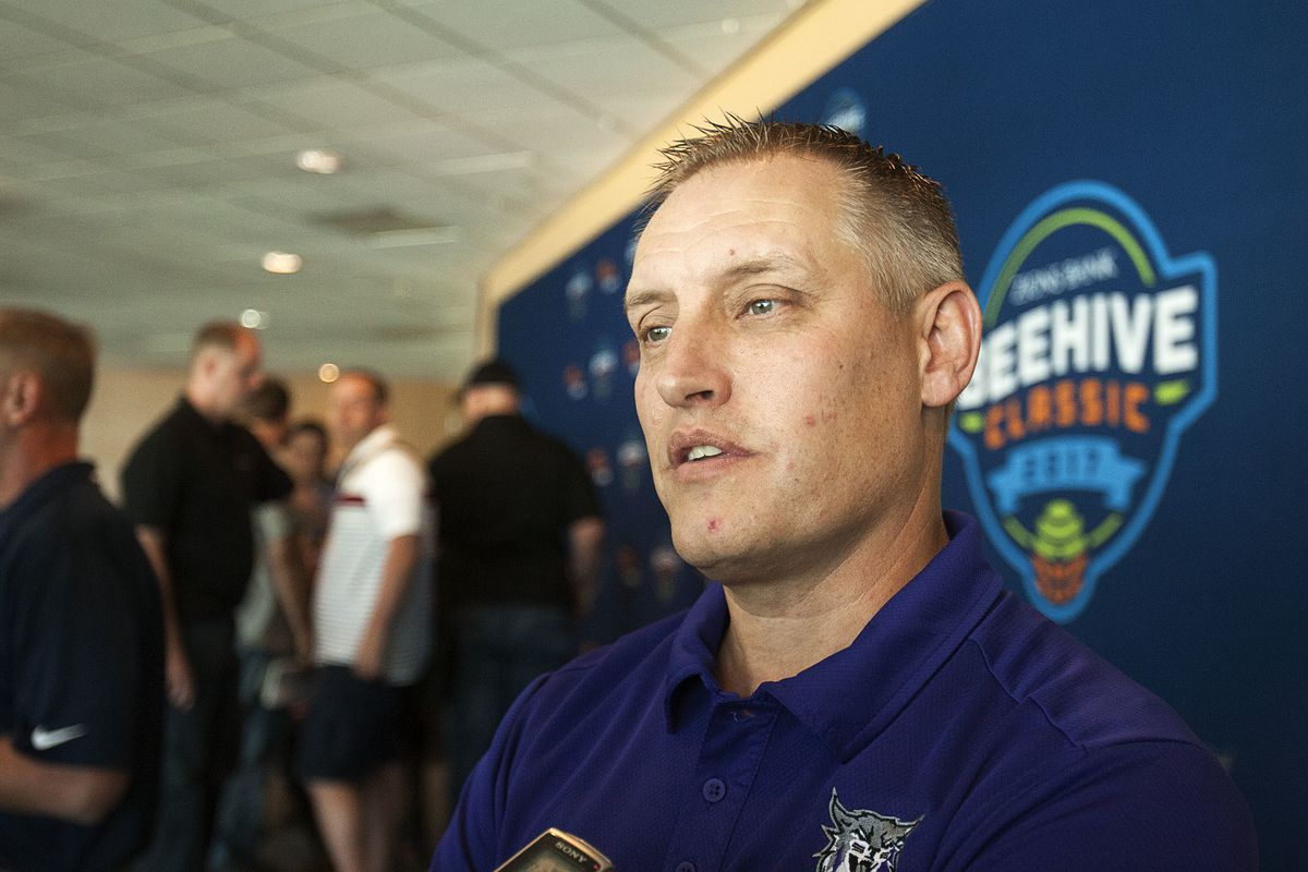 Jerry Bovee, athletic director at Weber State University is interviewed by the media at the Vivint Arena in Salt Lake City, Thursday, July 21, 2016.