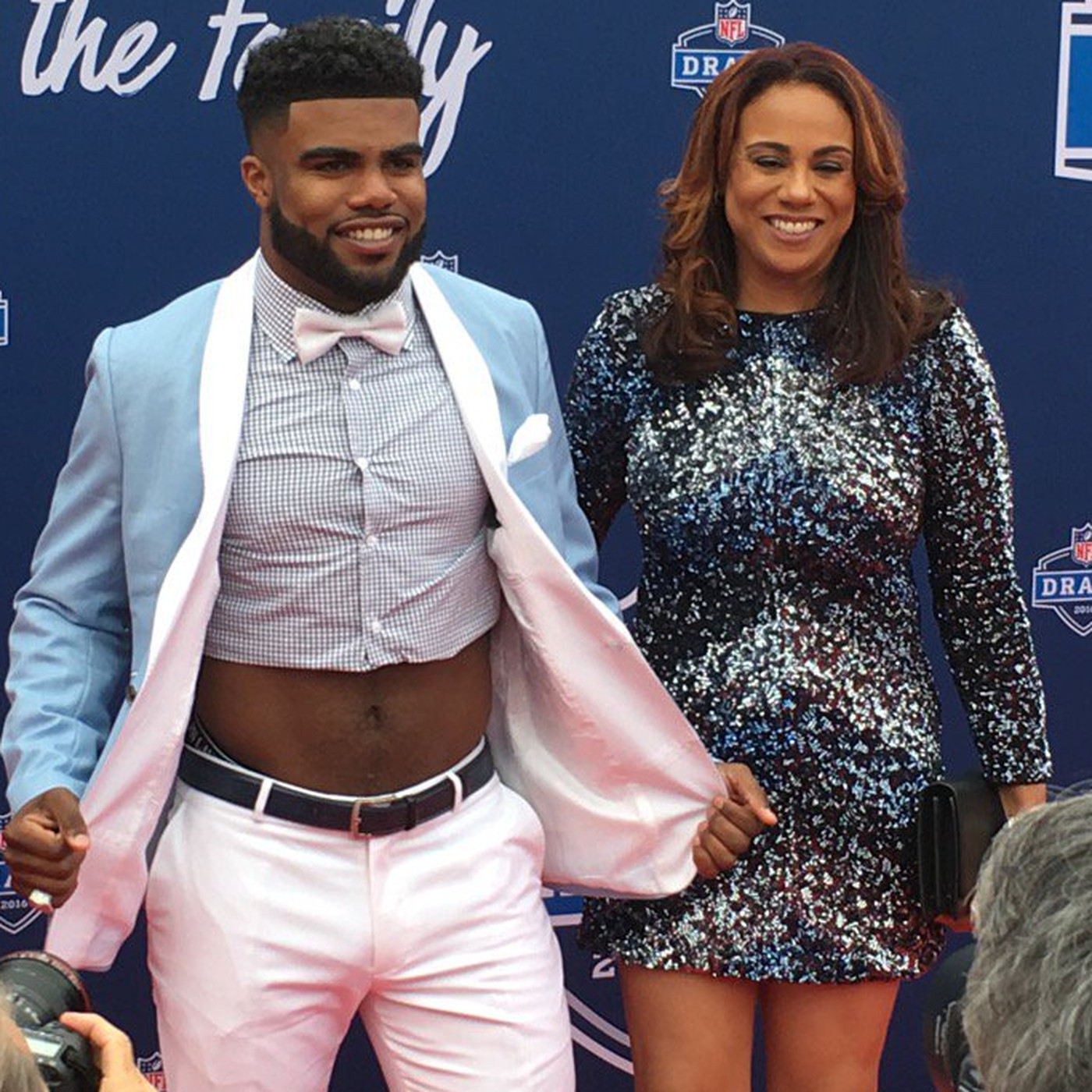 905689c84 Ezekiel Elliott took his signature crop top to the ultimate level at the NFL  Draft - SBNation.com