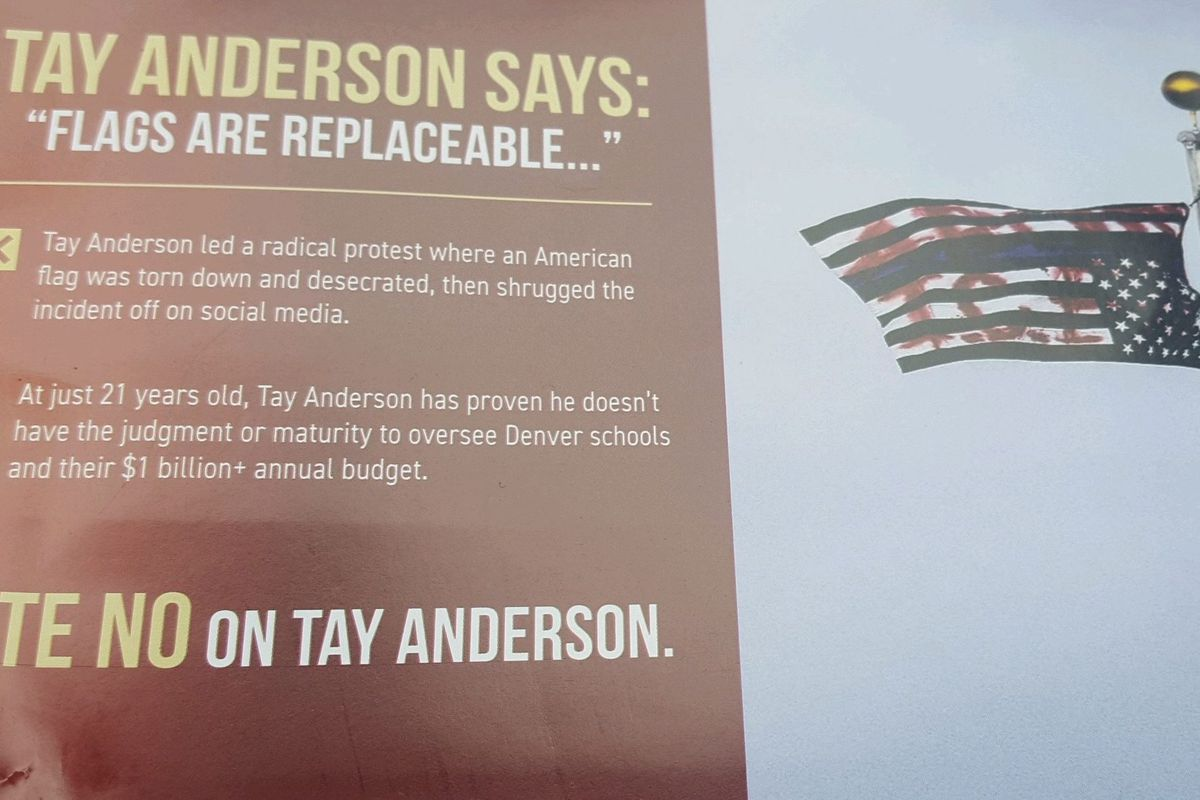 A mailer sent by Ready Colorado Action Fund opposing Denver school board candidate Tay Anderson.