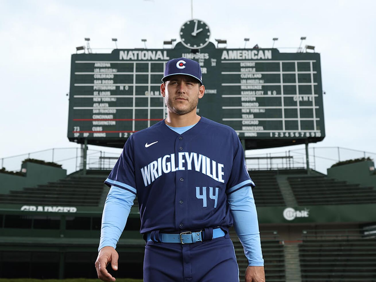Anthony Rizzo models the Cubs' City Connect uniform.
