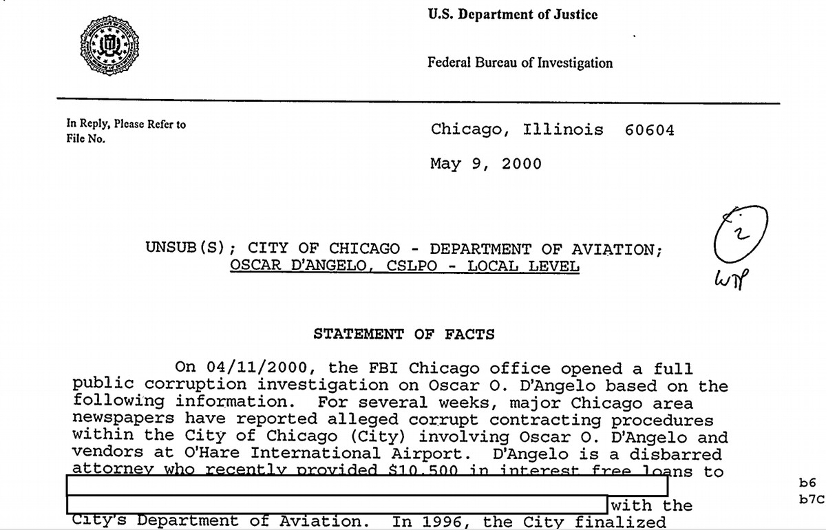 Part of Oscar D'Angelo's recently obtained FBI file, which shows the late powerbroker was under investigation in 2000 for an O'Hare Airport deal he helped broker.