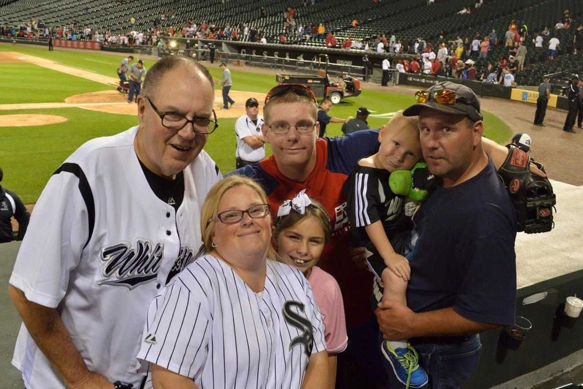 Richard Jaworowski (left) at a family outing to a Chicago White Sox game.
