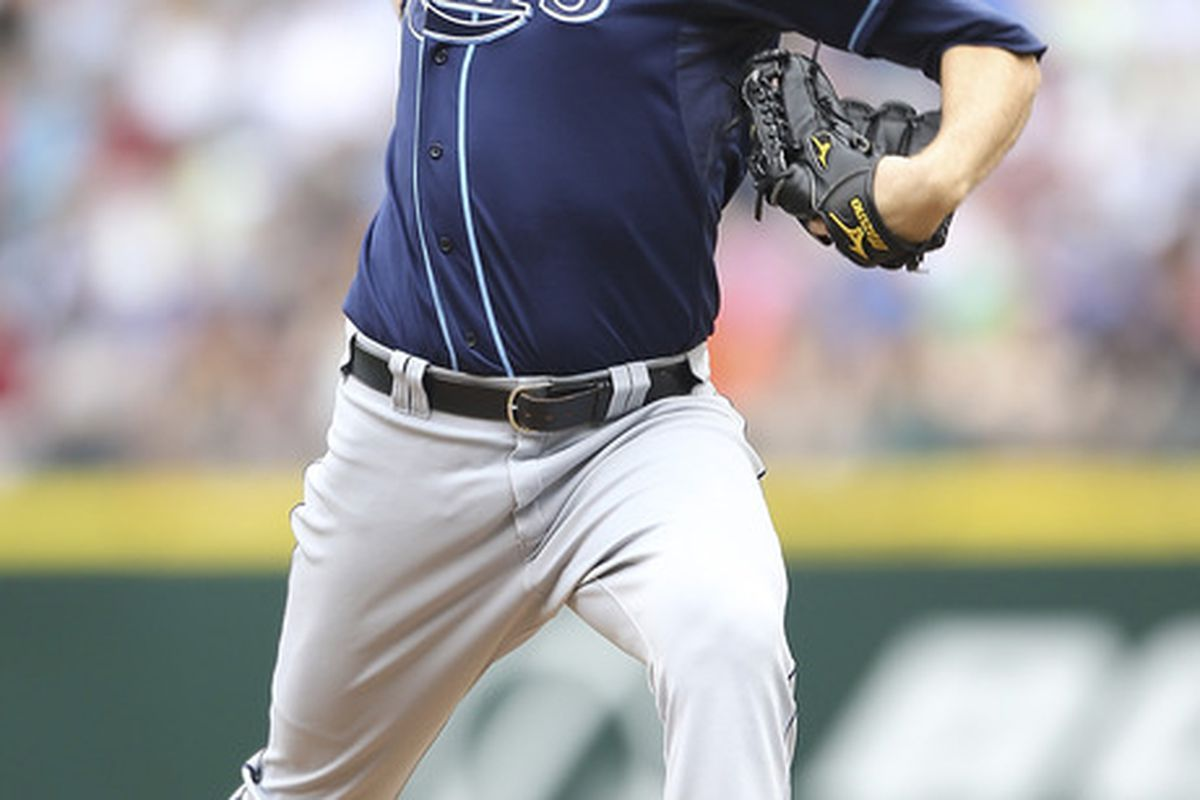 SEATTLE, WA - JUNE 05:  Starting pitcher Wade Davis #40 of the Tampa Bay Rays pitches against the Seattle Mariners at Safeco Field on June 5, 2011 in Seattle, Washington. (Photo by Otto Greule Jr/Getty Images)