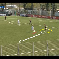 Soffia uses the familiar run of wide forward Serturini (off screen) coming deep for Soffia to pass the ball up field, just as in that first move way back in 2018.