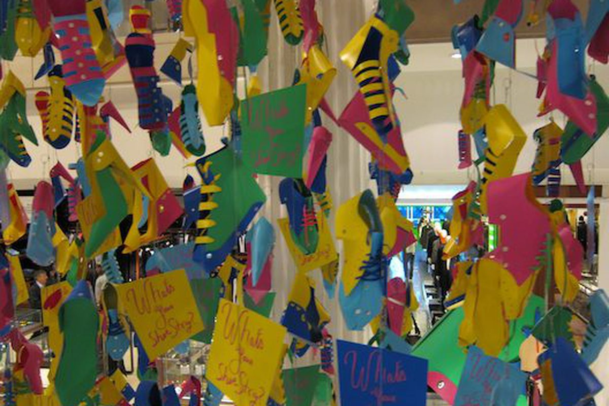 A wall of paper shoes at Selfridges in London yesterday