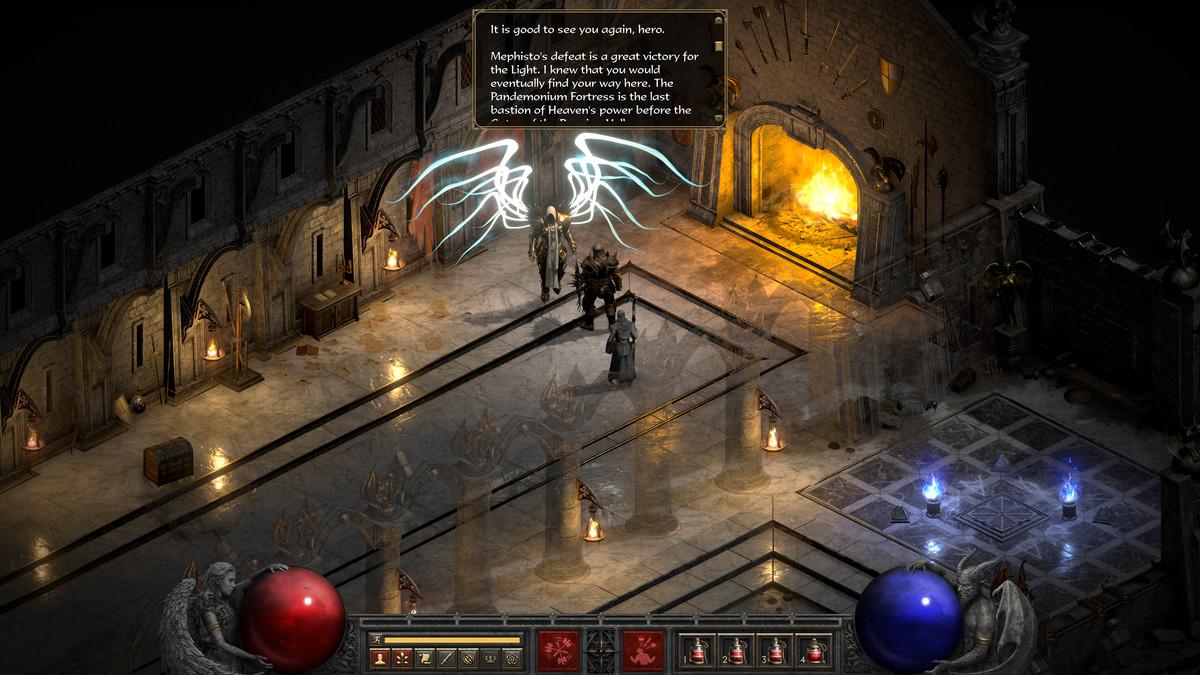 """Diablo 2"""" Resurrected's hero speaking to an NPC"""