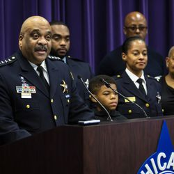 Flanked by family members, Chicago Police Department Supt. Eddie Johnson announces his retirement during a press conference at CPD headquarters, Thursday morning, Nov. 7, 2019.