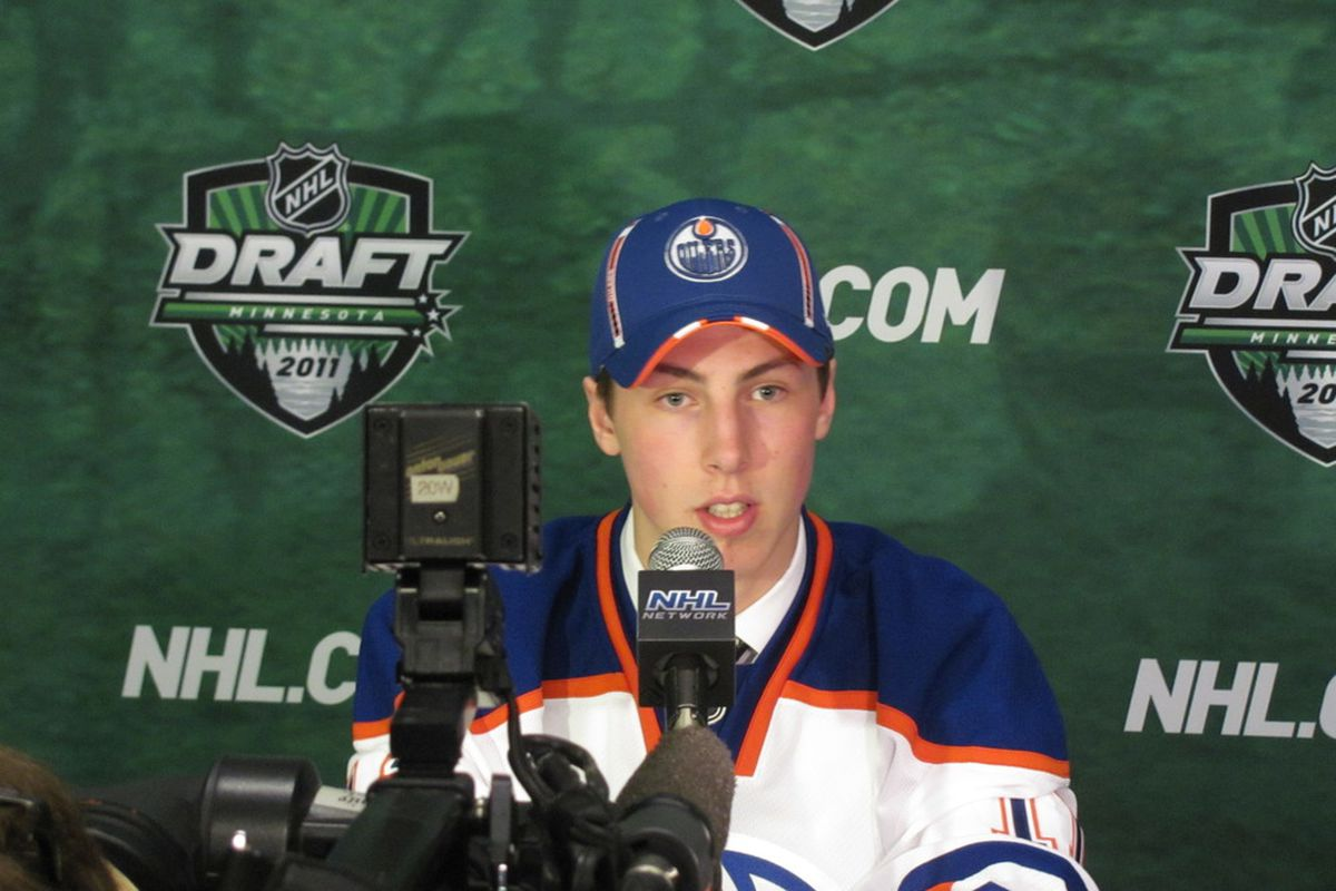 Ryan Nugent-Hopkins gives an icy glare at us for continuing to write and write and write.  Photo by Lisa McRitchie