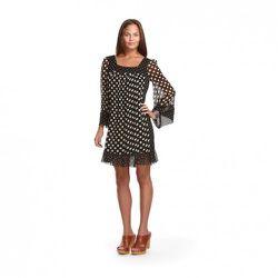 Jovovich-Hawk for Target Chiffon Dot Print Dress in Black/Tan $39.99