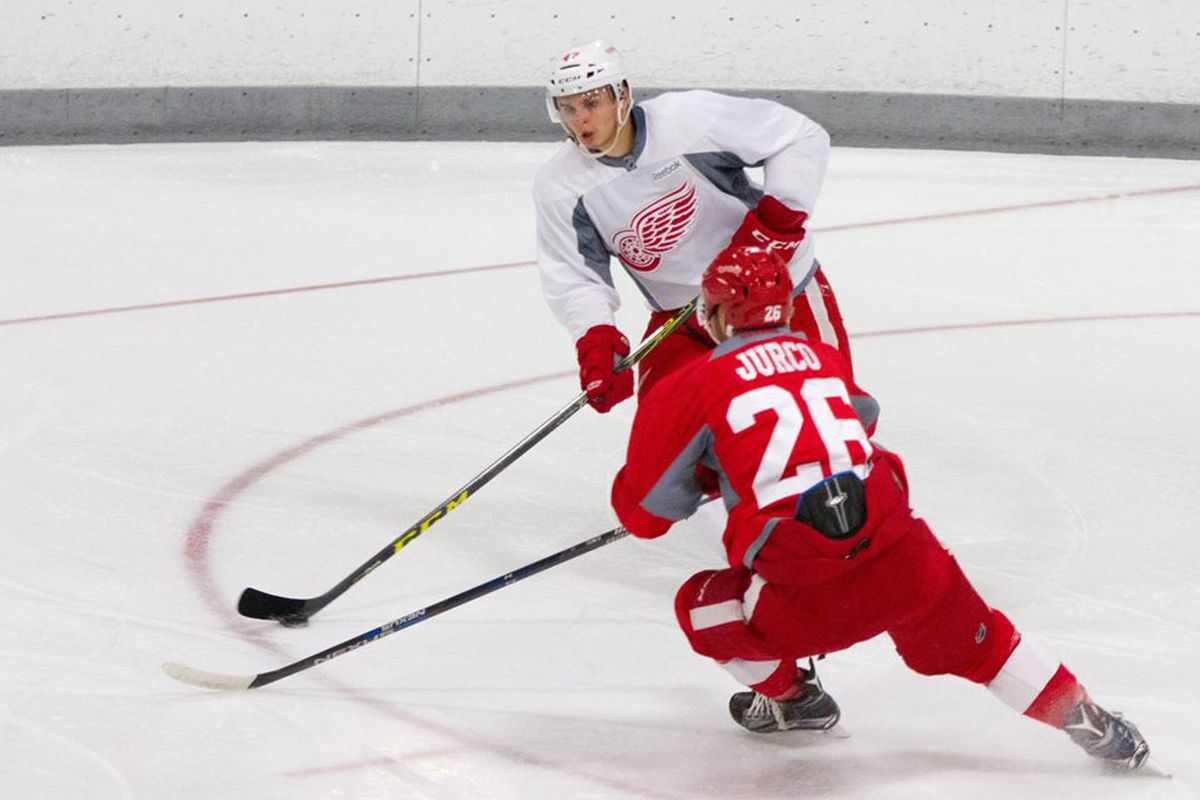 Jurco and Marchenko in scrimmage. 2015 Red Wings Training Camp