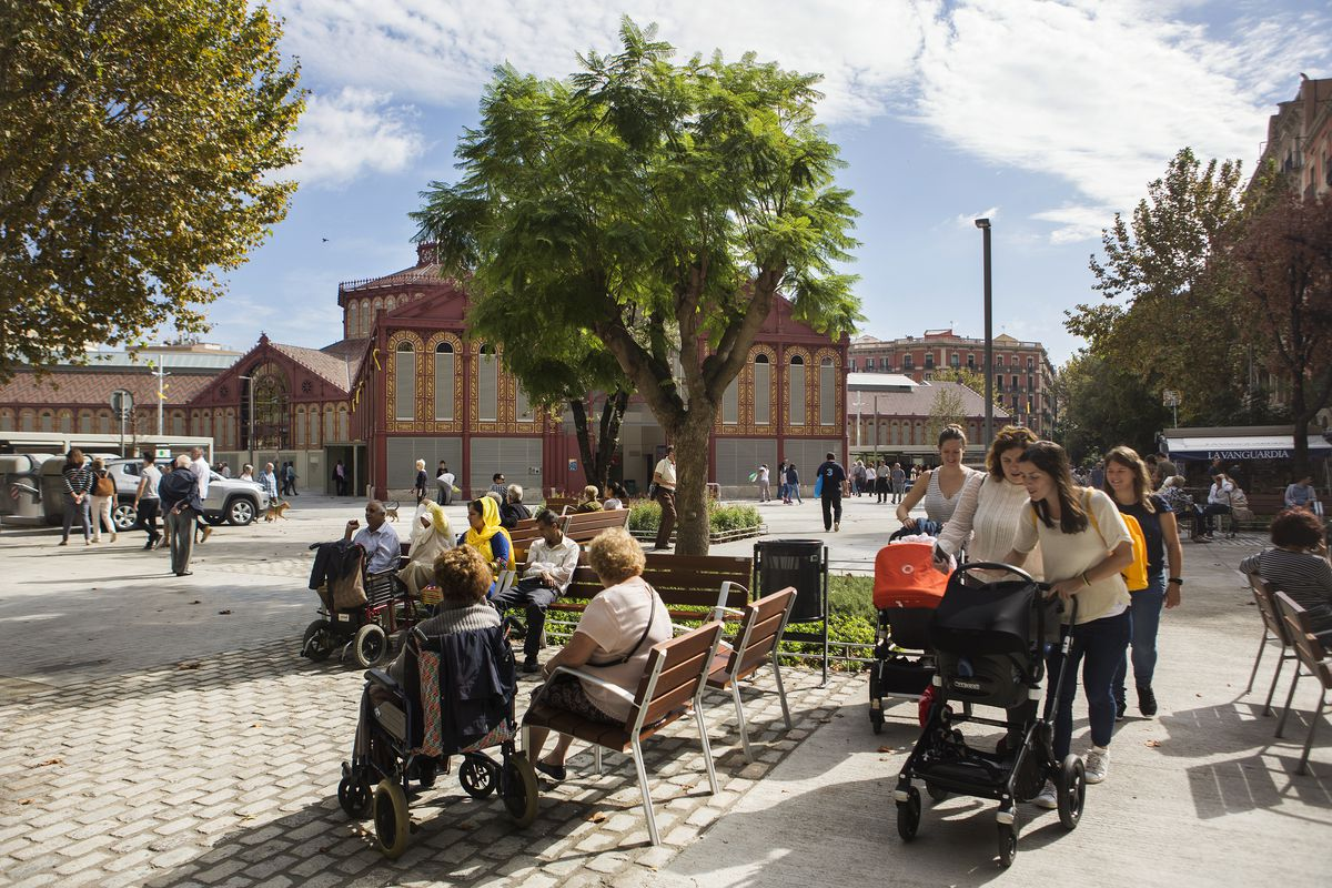 The superblock next to the newly renovated Sant Antoni market, popular with parents and people who want to chill out for a bit. Taken October 14th, 2018. Barcelona, Catalonia, Spain.