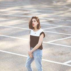 """Harlyn blocked T-shirt, <a href=""""http://miramirasf.com/products/harlyn-blocked-t-shirt"""">$127</a>. Photo by <a href=""""http://www.annaalexiabasile.com/"""">Anna-Alexia Basile</a>."""