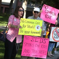 Common Core opponents rally at the State Board of Education office in Salt Lake City on Friday, Aug. 2, 2013.