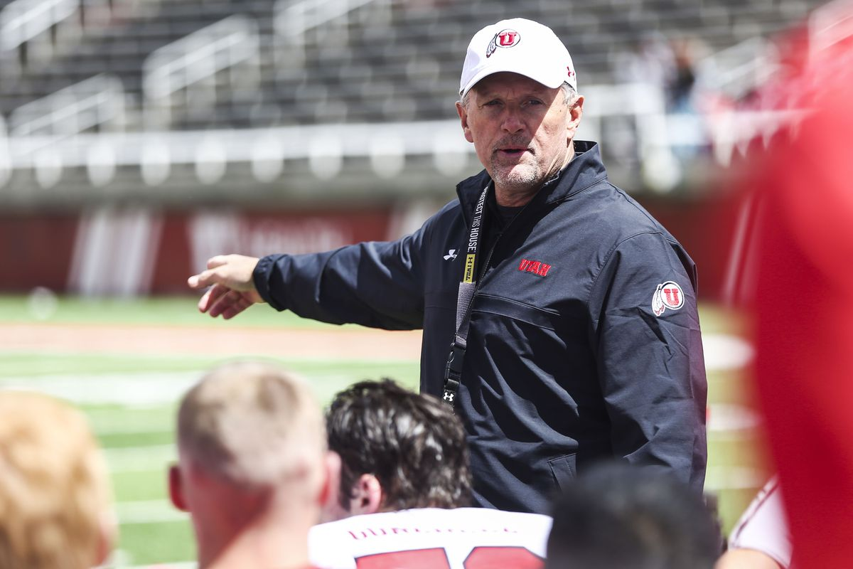 Utah Utes head coach Kyle Whittingham talks to the team after the Red-White game at Rice-Eccles Stadium in Salt Lake City on Saturday, April 13, 2019.
