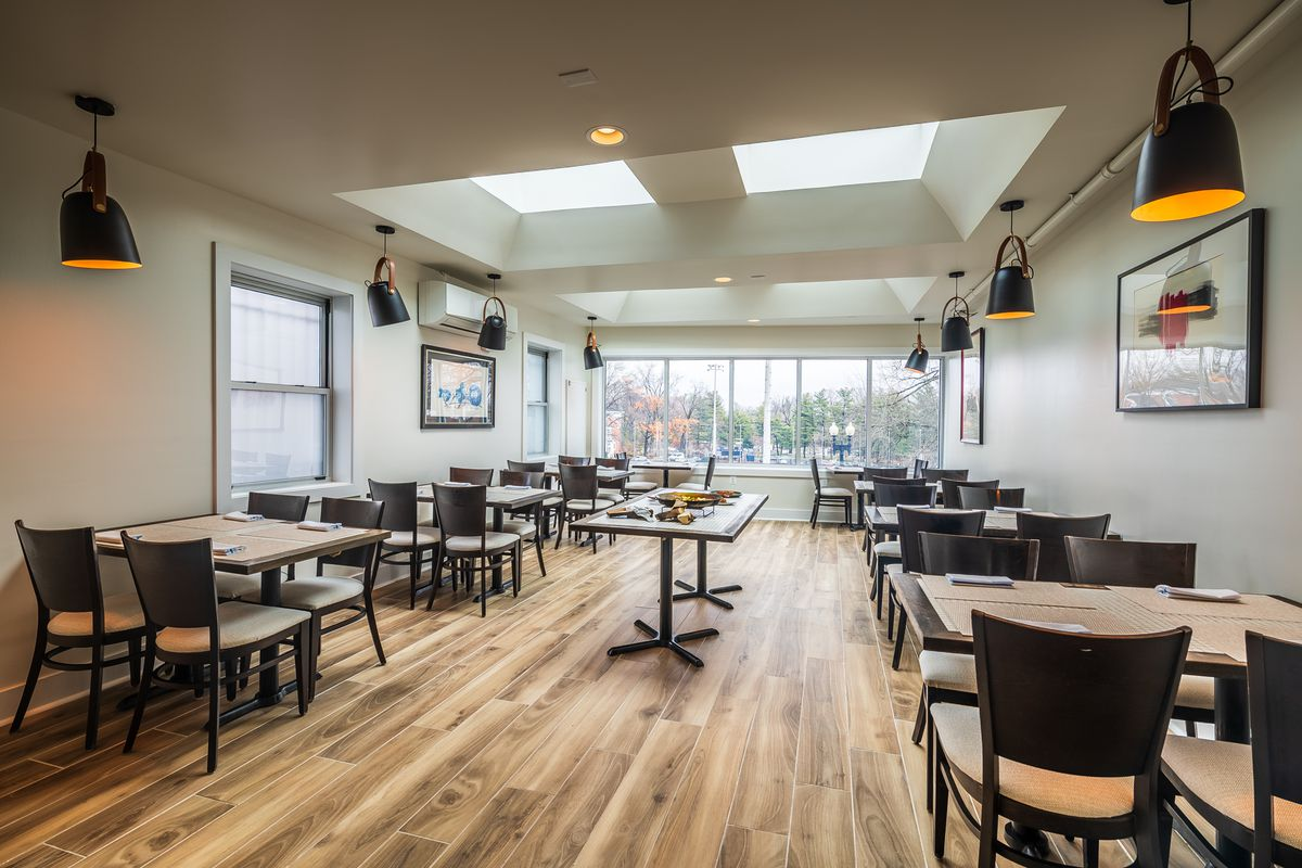 The top-floor dining room at Xiquet sits above Slate Wine Bar + Bistro in Glover Park