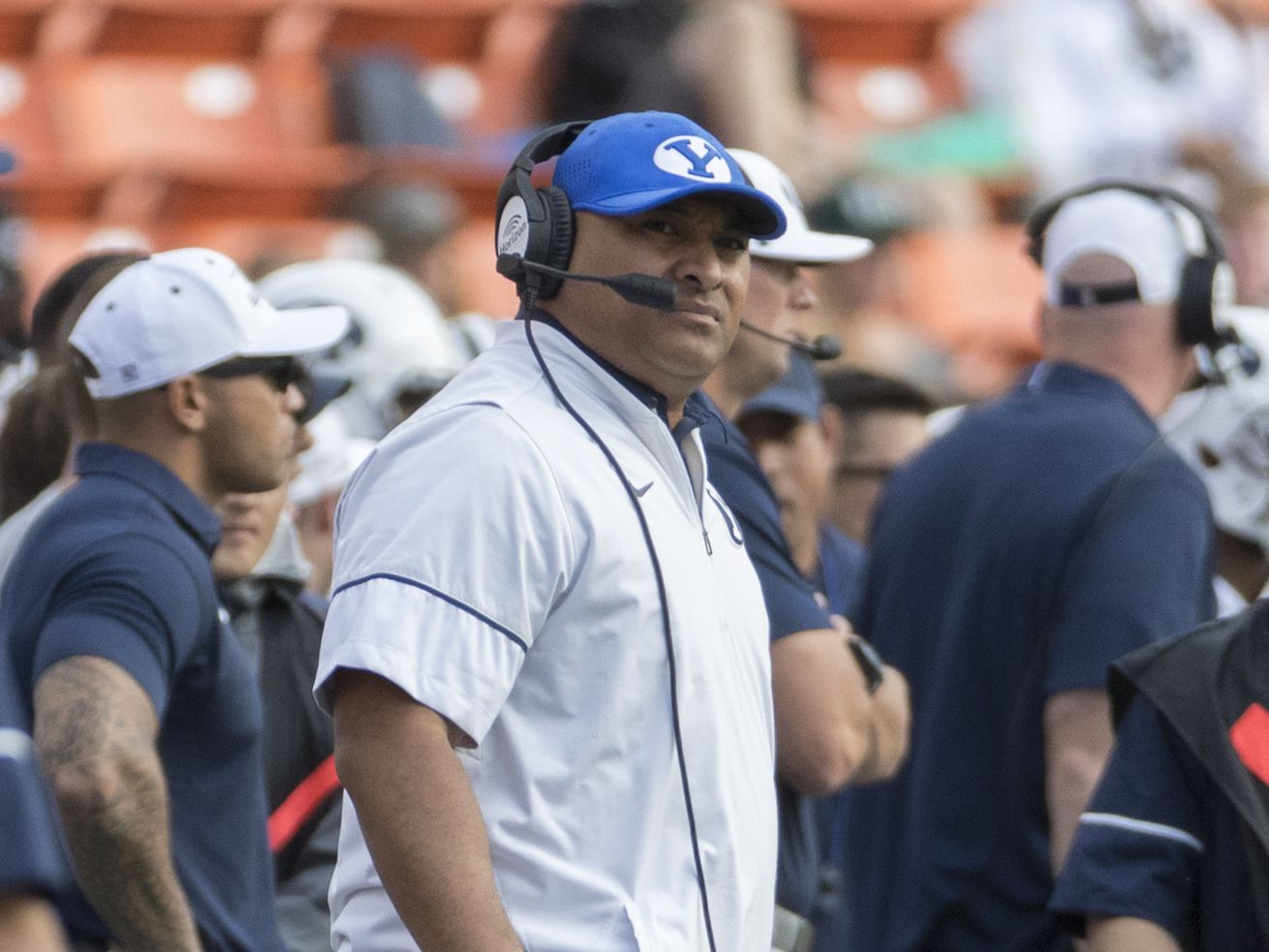 20171126 BYU head coach Kalani Sitake looks up at the scoreboard in the first quarter of game against Hawaii, Saturday, Nov. 25, 2017, in Honolulu.