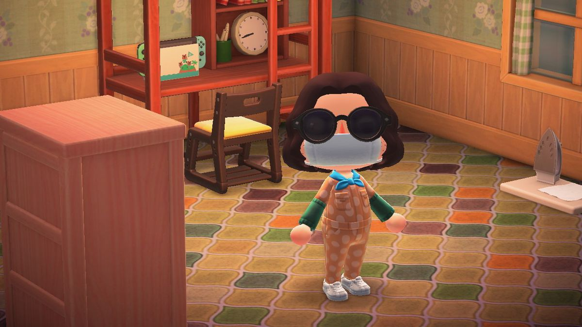 Animal Crossing character standing in a very cool room wearing a surgical mask