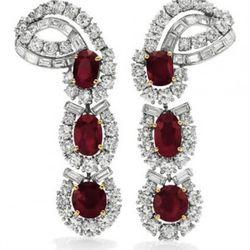 A Pair Of Ruby & Diamond Ear Pendants, by Cartier