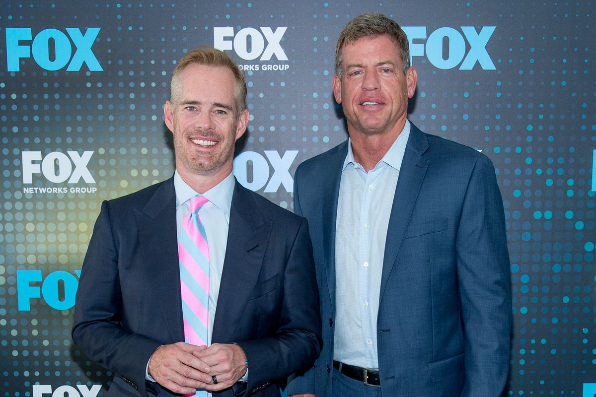 Joe Buck and Troy Aikman attend the 2017 FOX Upfront at Wollman Rink, Central Park on May 15, 2017 in New York City.