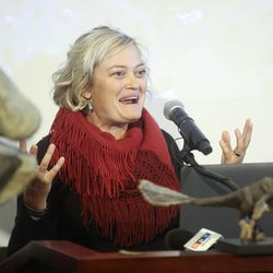 Moab Mayor Emily Niehaus discusses HB322, which would create Utahraptor State Park in the Dalton Wells area near Moab, during a press conference at the Capitol in Salt Lake City on Friday, Feb. 14, 2020.
