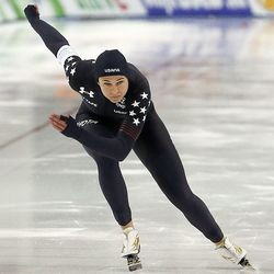USA's Brittany Bowe skates during the ISU World Single Distances Speed Skating Championships at the Utah Olympic Oval in Kearns on Friday, Feb. 14, 2020.