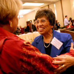 Aleita Huguenin, left,  and Democratic National Committee Vice-Chairwoman Linda Chavez-Thompson chat at the DNC's Executive Committee meeting at the Montage Deer Valley in Park City on Saturday, Dec. 1, 2012.