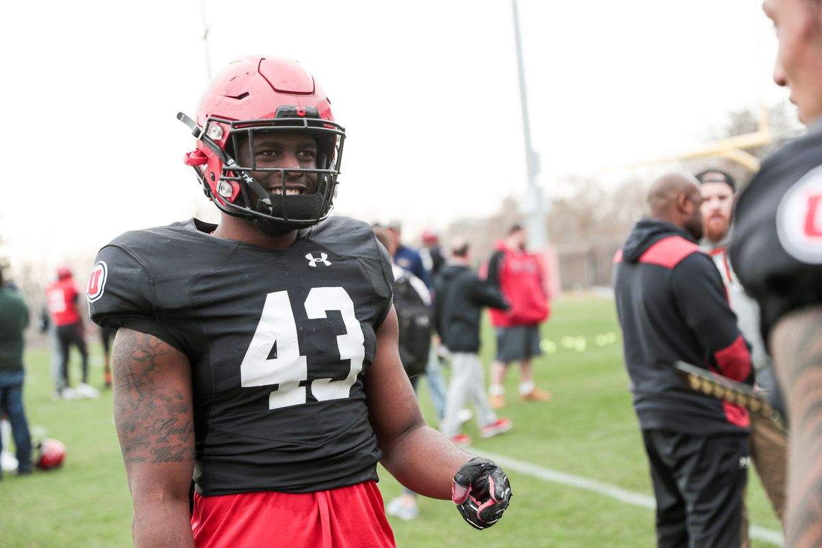 Linebacker Manny Bowen chats with a teammate after a University of Utah football practice at the Eccles Football Center in Salt Lake City on Tuesday, March 26, 2019.