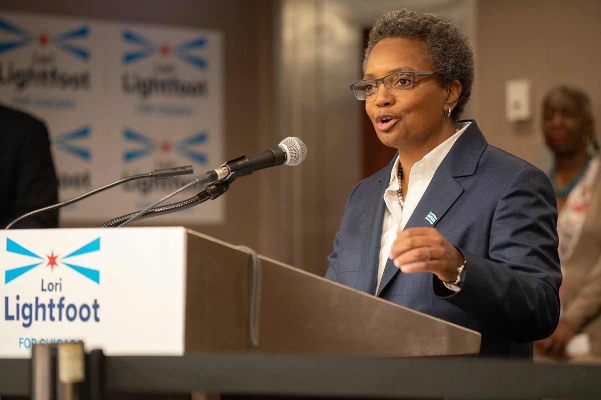 Mayoral candidate Lori Lightfoot unveiling her 15-point education plan in January at the Union League Club of Chicago. Her spokeswoman said the plan will help guide her education transition team.