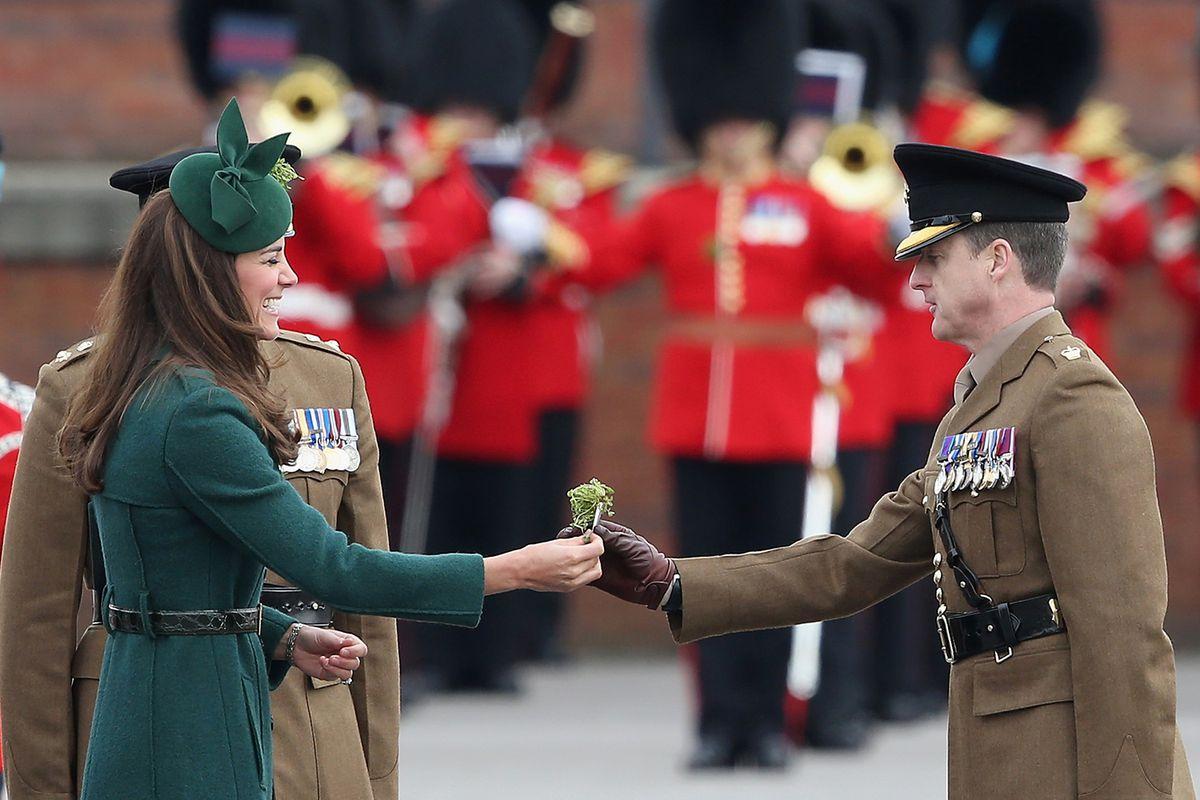 Kate Middleton presents the shamrock in 2014.