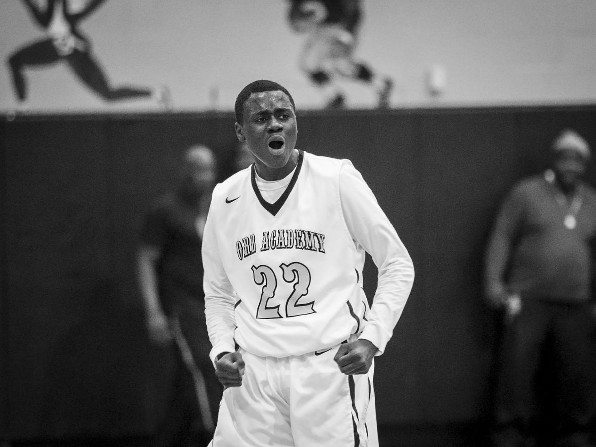 Rayvond Turner gets fired up during a game against North Lawndale College Prep High School at Orr Academy High School, Jan. 13, 2017.