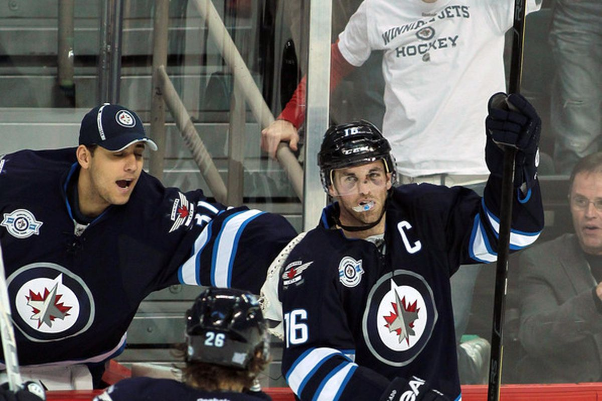 Methinks Pavelec will be wearing a hat tonight. And Ladd won't look like Frankenstein