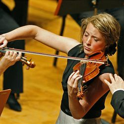 Sara Noel Bauman plays Lalo's Symphonie espagnole, op. 21 during the 50th anniversary Salute to Youth concert Tuesday in Salt Lake City.