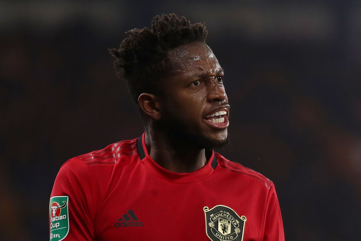 Fred of Manchester United reacts during the Carabao Cup...
