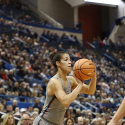 UConn�s Kia Nurse (11) launches  a three-pointer at the XL Center in Hartford, CT on November 19, 2017.