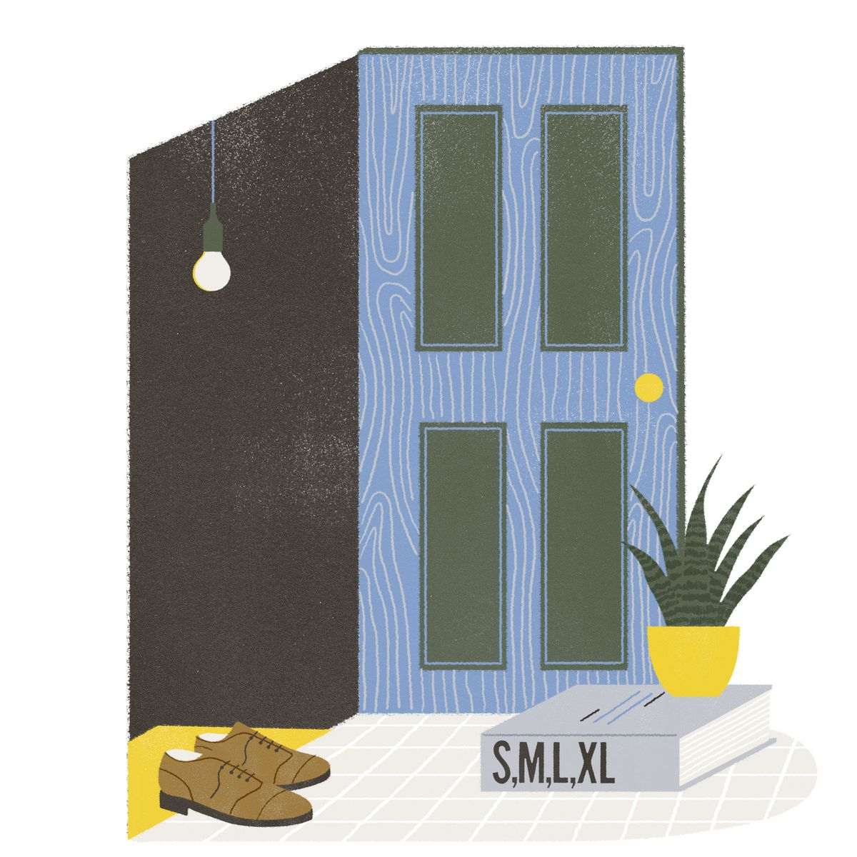 A door is propped open by the a large book with the title S,M,L,XL on the spine. A potted plant sits atop the book. Illustration.