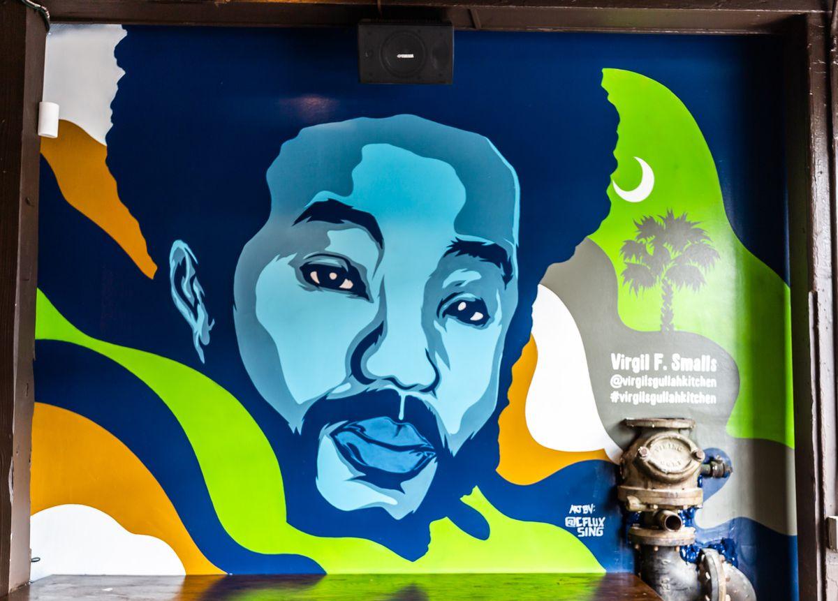 A mural of Virgil Smalls at Virgil's Gullah Kitchen in College Park, GA