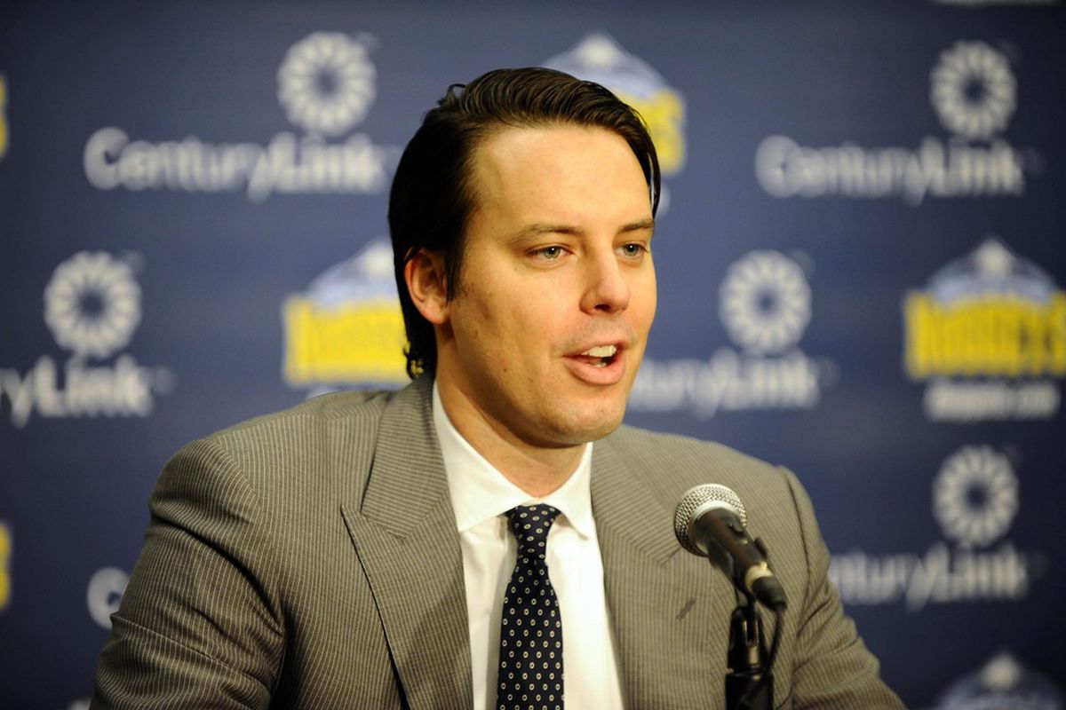 March 19, 2012; Denver, CO, USA; Denver Nuggets president Josh Kroenke speaks to the media during a press conference held at the Pepsi Center. Mandatory Credit: Ron Chenoy-US PRESSWIRE