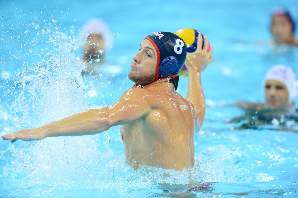 Aug 6, 2012; London, United Kingdom; USA defenseman Tony Azevedo attempts a shot in a preliminary match against Hungary during the London 2012 Olympic Games at Water Polo Arena. Mandatory Credit: James Lang-USA TODAY Sports