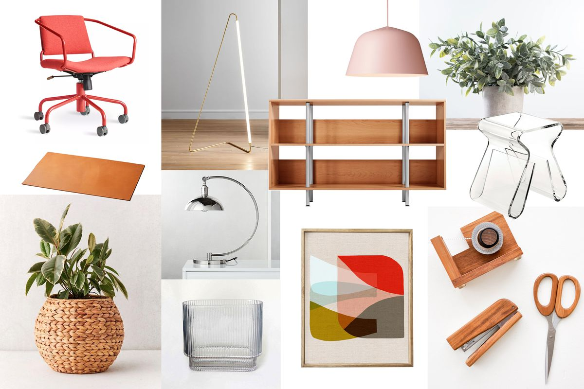 A collection of office furniture in a peach tone, including a chair on wheels, hanging pendant light, and planter.