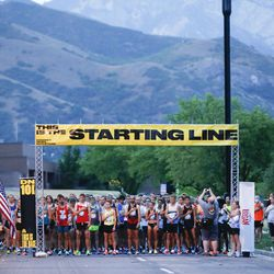 Competitors prepare to start the Deseret News 10K in Salt Lake City on Friday, July 23, 2021.