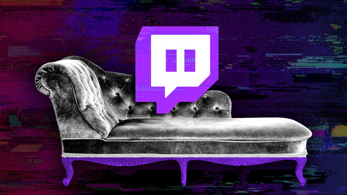 Illustration of a couch on a dark background with a Twitch logo hovering above