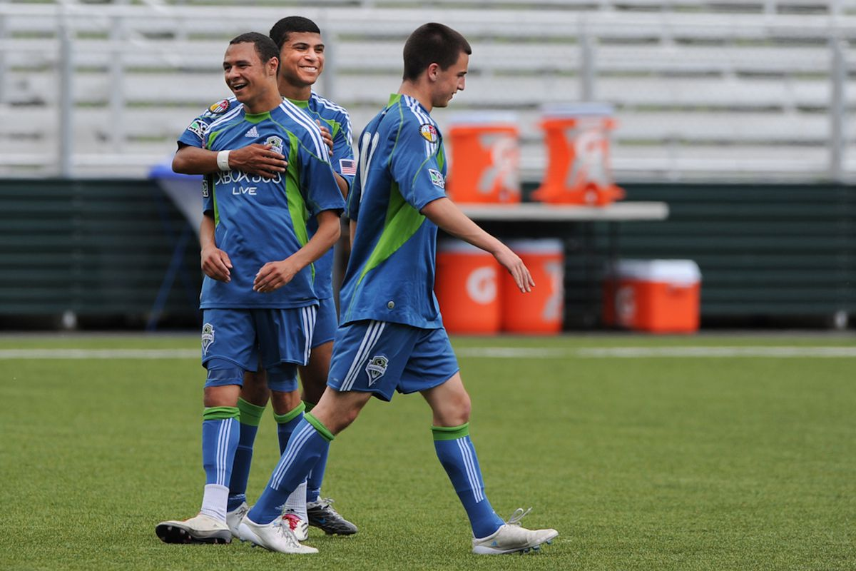 """Jamael Cox, DeAndre Yedlin and Aaron Kovar - Photo Courtesy Chris Coulter/<a href=""""http://www.soundersphotos.com"""" target=""""new"""">Sounders Photos</a>"""