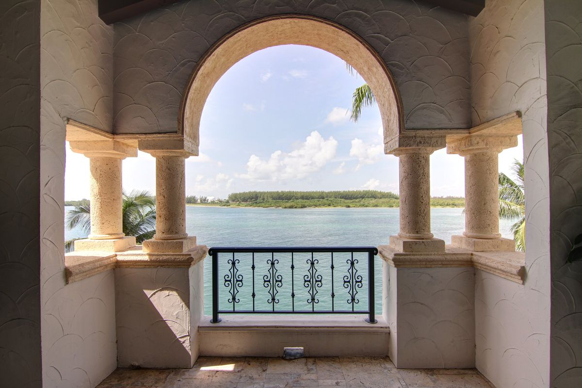 Bay view from a mediterranean style terrace on Fisher Island.